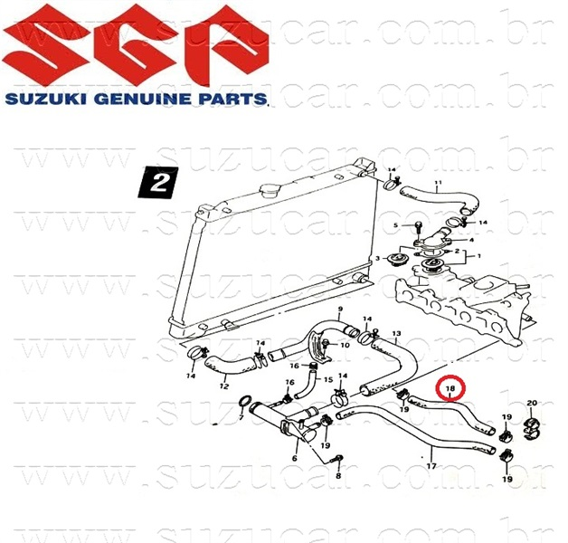 Mangueira do Ar quente Suzuki Vitara 1.6 8V (Saida)
